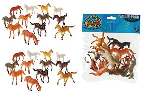 U.S. Toy 2 Dozen (24) Mini Plastic Horse Figures 2.5' Toys Birthday Party Favors Prizes Pony - Cupcake Toppers Teacher Rewards