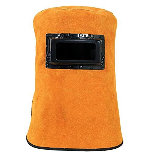 Soldador Soldadura máscara de soldadura de la capilla de calor casco de cuero resistente con filtro de la lente de ojo de Protección cuello de la cara del soldador Accesorios de seguridad