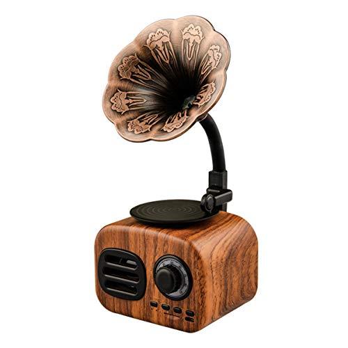 Altavoz Bluetooth Retro inalámbrico, Altavoz estéreo con Forma de gramófono, Reproductor de música con Radio FM, para decoración Dormitorio Oficina casa Ducha,Walnut