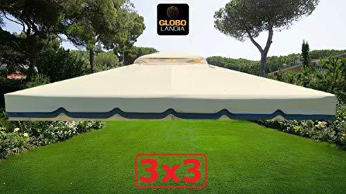 GLOBOLANDIA Nuovo Telo Top per Copertura Gazebo 3X3 450 gr Ricambio Camino Antivento Antipioggia