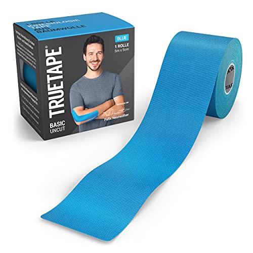 TRUETAPE® Basic - Kinesiotape | 5m x 5cm Rolle | wasserfestes & elastisches Kinesiologie Tape für den Alltag | hautfreundlich mit perfektem Tragekomfort I Blau