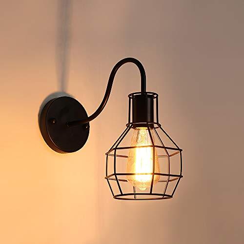 AUA Apliques de pared vintage industrial, luz de jaula de metal E27, aplique interior negro, para cafetería, bar, Home Decor
