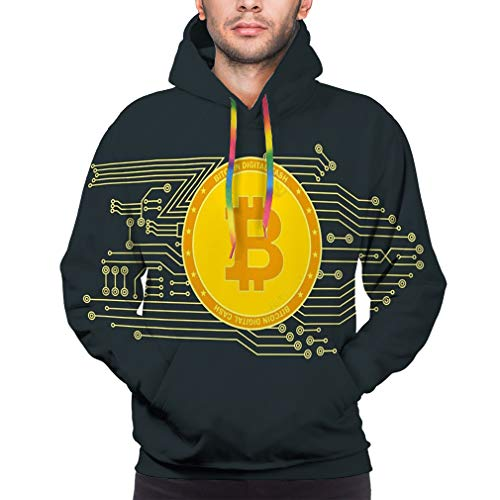bitcon Poster Gold Bitcoin Sign Computer Chip Color Pattern Farm Production Crypto Currency Mining Virtual Money Unisex 3D Printed Hoodies Cool Pullover Hooded Sweatshirt