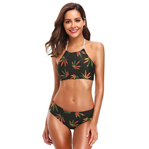 Ahomy Damen-Bikini-Set, Hanf, Marihuana-Blätter, hoher Halsausschnitt, zweiteilig, gepolstert Gr. XX-Large, mehrfarbig