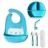 Set de Platos Bebé. Incluye Regalo con el Cuenco Antiderrame ; X2 Cubiertos Bebé Aprendizaje X1 Taza Bebé con Pajita Reutilizable y X1 Babero Silicona Set de Vajilla Bebé Libre de BPA