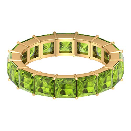 Anillo de piedra natal de agosto, 5,4 CT 4x4 MM corte princesa anillo de peridoto creado en laboratorio, delicada banda de boda, anillo de dama de honor, 14K Oro amarillo, Size:EU 70