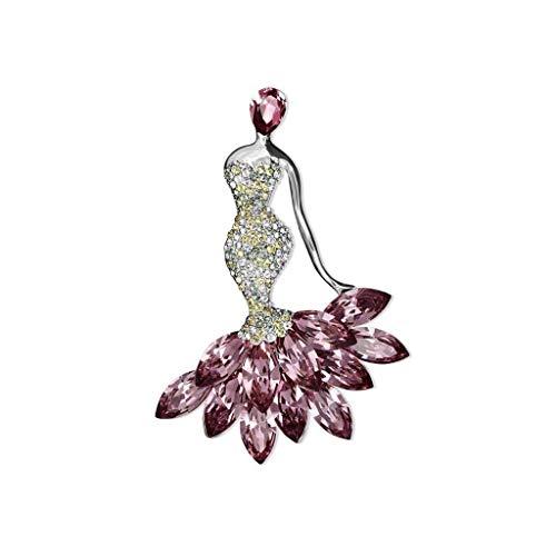 ZWSHOP Broche de cristal de sirena femenino, estilo europeo y americano, diseo multifuncional, utilizado para fiestas, bodas, banquetes de negocios, cajas de regalo de 7,3 x 5,2 cm (color: rosa)