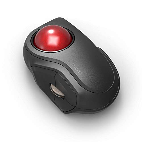 ELECOM Bluetooth Finger-operated Compact-size Trackball Mouse 5-Button Function Smooth Tracking, Less-Noise Precision Optical Gaming Sensor with Semi-hard Case (M-MT2BRSBK)