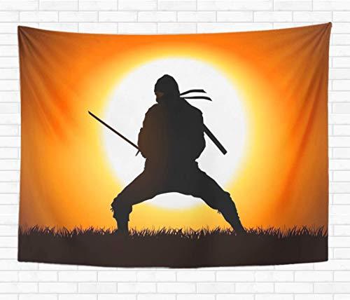N/A Home Tapiz decorativo para pared, silueta de guerrero de ninja en campo de hierba, samurái, 60 x 80 pulgadas, manta de pared para dormitorio, sala de estar