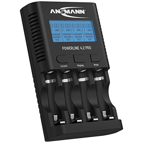 ANSMANN Batterieladegerät für 4x AA/AAA NiMH Akkus - Ladegerät mit 5 Ladeprogrammen: Laden, Entladen, Testen, Refresh, Schnellladen + USB-Lader - Powerline 4.2 Pro Akku-Ladegerät