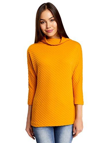 oodji Collection Mujer Jersey de Tejido Texturizado con Cuello Amplio, Amarillo, ES 42 / L