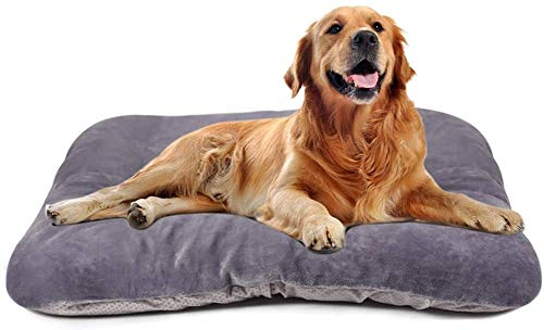 Magic Dog Large Dog Bed Mat Crate Pad with Removable Cover Washable Pet Mattress Non Slip Kennel Sleeping Beds Grey L Beds Furniture