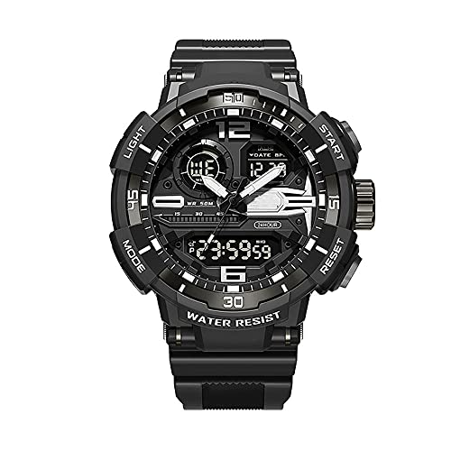 Digital Uhren Herren Quarz Damen, Digital Uhr,5ATM Wasserdicht Armbanduhr,Digitaluhr Unisex,Resin Armband (Color : Black)