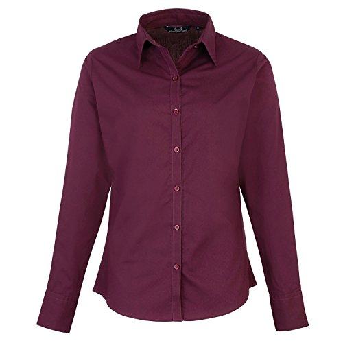 Premier Fitness Damen Poplin Long Sleeve Blouse Bluse, Rot (Aubergine), 40