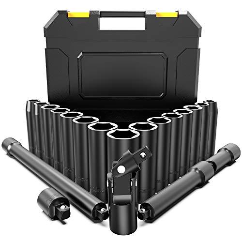 """papasbox Juego de Llaves de Vaso de Impacto1/2"""", 20 PCS (10-24mm), Vaso de Impacto con 6 Puntos torque, Adaptador de 1/2' a 3/8"""", 3 Palancas de Extensión y Junta Universal- Acero Al Cromo Vanadio"""