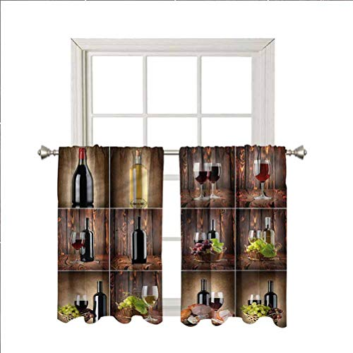 LCGGDB Wine Room Darkening Blackout Window Curtains,Grapes Meat Drink Collage Thermal Insulated Noise Reducing Short Curtain Panels for Kitchen Bedroom,42 x 45 Inch, 2 Panels