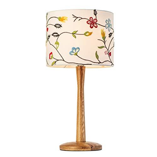 Lampes de table Chambre Salon Chaleur Romantique Moderne Minimaliste Brodé en Bois Lampe De Chevet (Color : A, Size : 25 * 52cm)