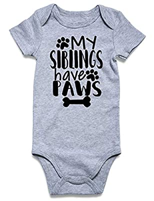 Lovefairy Baby Gifts for Twin Boys Newborn Onesie My Siblings Have Paws Print Solid Bodysuits Rompers Outfits Jumpsuit 0-3 Month
