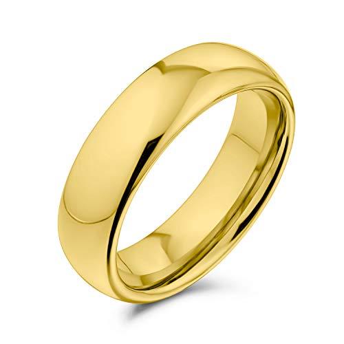 Bling Jewelry Plain Simple Dome Couples Titanium Wedding Band Lucido 14K Anello Placcato Oro per Uomo per Donna Comfort Fit 6MM