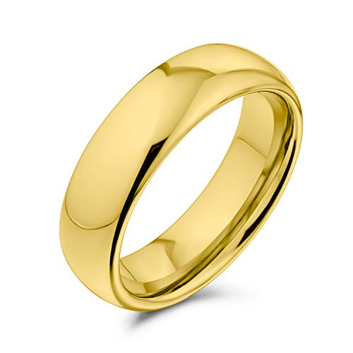 Bling Jewelry Plain Simple Dome Couples Titanium Wedding Band Lucido 14K Anello Placcato Oro per Uomo per Donna Comfort Fit 6MM