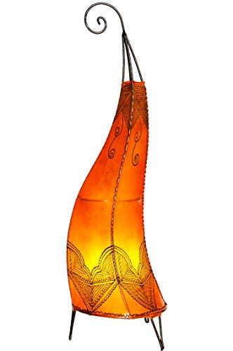 Orientalische Stehlampe Arif Orange 70cm Lederlampe Hennalampe Lampe | Marokkanische Große Stehlampen aus Metall, Lampenschirm aus Leder | Orientalische Dekoration aus Marokko Orange