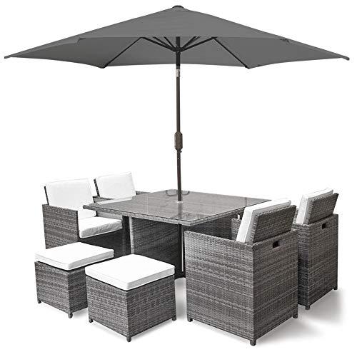 Harts Premium Rattan Dining Set, Cube 8 Seats Garden Patio Conservatory Furniture inc & Parasol (Grey)