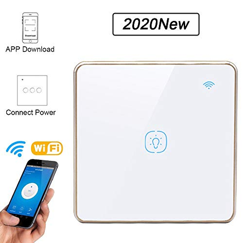 BHLL Wall Smart Switch Dimmer WiFi afstandsbediening met Smart Phone pantserglas overbelastingsbeveiliging Remot-bediening, compatibel met iOS/Android