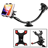 IPOW Upgraded Truck Phone Mount Holder Universal 11 Inches Long Arm Windshield Dashboard Car Mount Cradle with Adjustable X Clamp&Ultra Dashboard Base for Smartphones