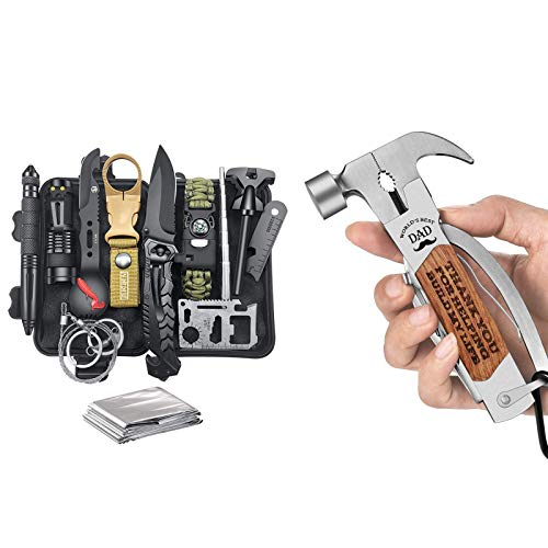 Gifts for Men Dad Husband, Survival Gear and Equipment 12 in 1, Cool Gadget, Stocking Stuffer for Men, Hammer Multitool