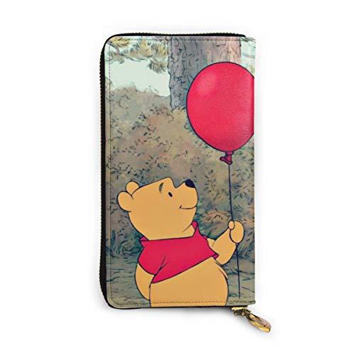 Portafoglio Winnie The Pooh con blocco RFID in vera pelle, con chiusura lampo