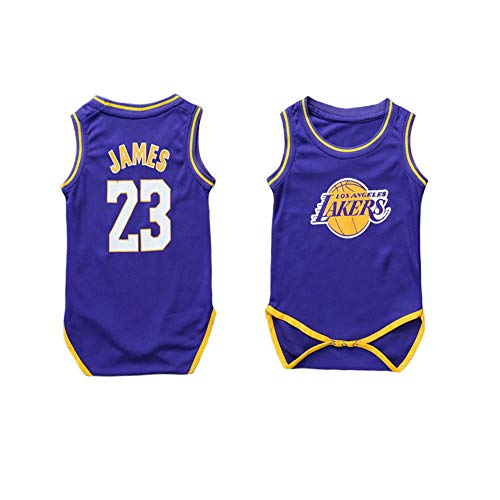 LCHENX-Body da Unisex Neonato Body in Maglia con Ventaglio Lebron James NBA Los Angeles Lakers # 23,Viola,6~15 Months