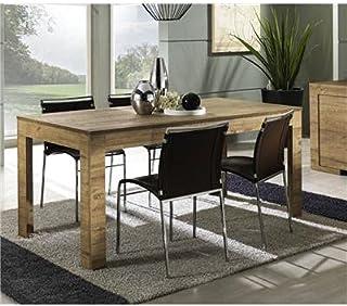 Kasalinea Table de Salle à Manger rectangulaire contemporaine Galia-L 228 x P 90 x H 75 cm- Marron