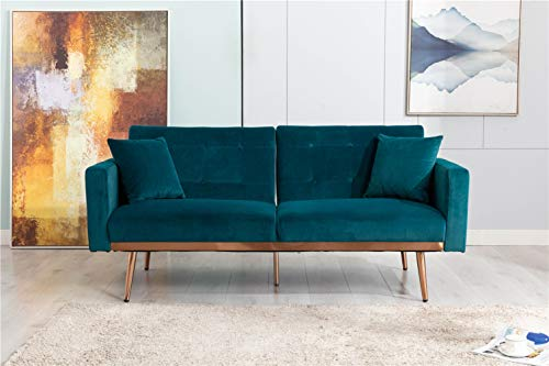 """68""""-Button Velvet Sofa, Accent Sofa, Mid Century Modern Velvet Fabric Couch, Convertible Futon Sofa Bed ,Recliner Couch Accent Sofa Loveseat Sofa with Gold Metal Feet (Teal)"""