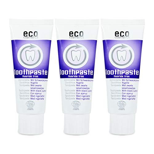 ECO COSMETICS Schwarzkümmel Zahncreme (3 x 75 ml), Bio Zahnpasta, Vegan, Fluoridfrei, Naturkosmetik