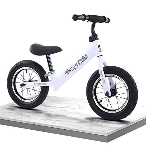 WTING Bicicleta de Equilibrio, Bicicleta Sin Pedales Infantil para niños de 2 a 6 años, Manillar y Asiento Regulables con Ruedas de Goma EVA,Balance Bike de Aluminio,Blanco