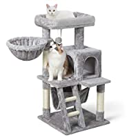 Versatile Rest, Recreation Center: No matter your kitten wants to stretch out on the spacious porch, curl up inside the plush hammock, or release the scratching urge onto the sisal posts, this all-in-one cat tree scratching post combines both style a...
