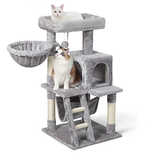 """rabbitgoo Cat Tree 39"""" Cat Tower for Indoor Cats, Multi-Level Cat House Condo with Large Perch, Scratching Posts & Hammock, Cat Climbing Stand with Toy for Medium Small Kittens Play Rest, Light Gray"""