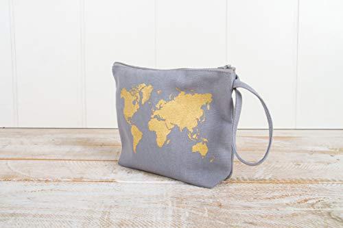 Rayher 53982564 Kosmetiktasche mit Reißverschluss, grau, 22 x 17 cm, mit Reißverschluss und Trageschlaufe, kleine Schminktasche aus Stoff, Stofftasche zum Bemalen
