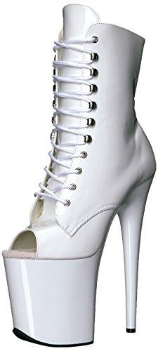 Pleaser Damen Flamingo-1020 Stiefel, Lack Weiß, 38 EU