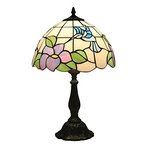 HDDD creatieve decoratie retro Europese bloem tafellamp in Tiffany-stijl vogel glazen scherm geschikt voor slaapkamer bedlampje verlichting hars sokkel