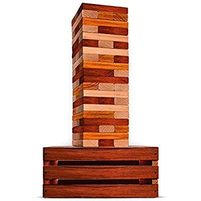 SWOOC Games - Reclaimed Giant Tower Game | 60 Large Blocks | Storage Crate / Outdoor Game Table | Starts Over 2.5ft Big | Max Height of 5ft | Genuine Jumbo Toppling Yard Games | Jumbo Backyard Set