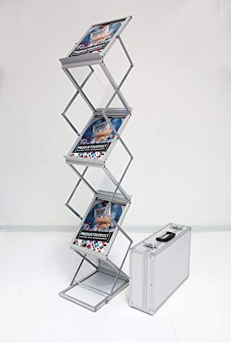 Expositor de folletos plegable 6 x A4 de aluminio/acrílico. Incluye maletín de...