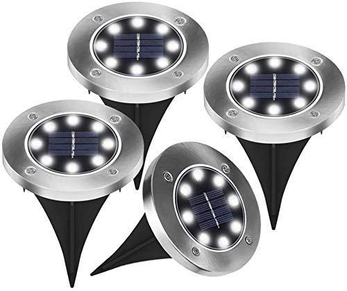 Vegena Solarleuchten Garten 4 Stück, LED Solarleuchten Bodenleuchte Solar Leucht außen Solarleuchte Wasserdichte Solar Bodenstrahler Edelstahl Garten Landschaftslichter, 8LED Weißes Licht