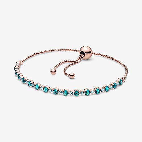 CHWEI Knitted Hat Pulseras para Mujer Pulsera De Tenis Deslizante Brillante De Plata De Ley 925 Rosa Turquesa Pulsera Ajustable De Cristal Azul para Mujer Joyería A 25 5Cm