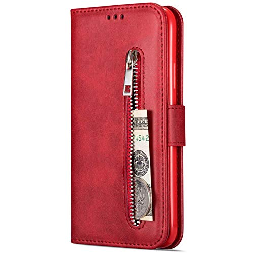 Dclbo Hülle für Samsung Galaxy S7 Edge, Handyhülle Handytasche PU Leder Schutzhülle Case Flip Tasche mit Kartenfach Handschlaufe Silikon Hülle Ledertasche für Samsung Galaxy S7 Edge-Rot