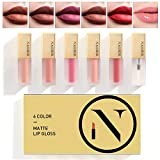 NAQIER Matte Velvet Lip Gloss Set, 6PCS Nude Liquid Lipstick Kit Moisturizer Smooth, Waterproof Lip Cream with Clear Lipgloss for Women gift