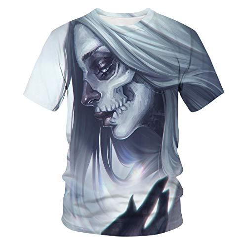 Summer Skull Pattern 3D Camiseta Impresa De Manga Corta De Los Hombres De Moda Suelta