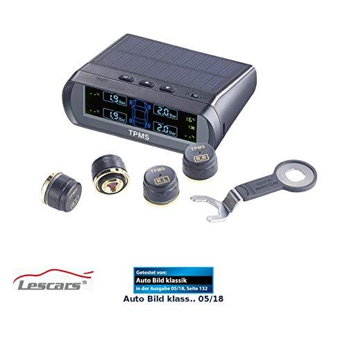 Lescars Reifendruckkontrolle: Kabelloses Reifendruck-Kontrollsystem mit Funk-Sensoren, Solar-Betrieb (Reifenluftdrucküberwachung)
