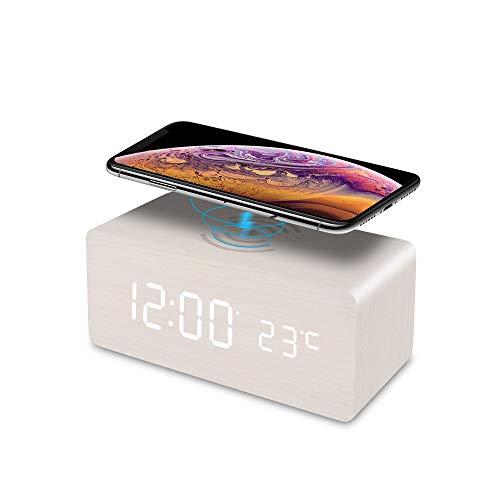 FiBiSonic LED digitaler Wecker mit Qi ladestation Inductive, Multifunktionaler wecker Holz mit Sprachsteuerung, Temperatur, für iPhone/Samsung Galaxy/Huawei mit QI-aufgeladenen Mobil (Weiß)