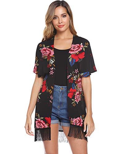 Hawiton Damen Chiffon Florale Cardigan mit Quaste, Lichtdurchlässig Häkeln Offene Front Kimono Cardigan Strickjacke fur Bikini Beach Rock Badeanzug Loose Cover Up Tops